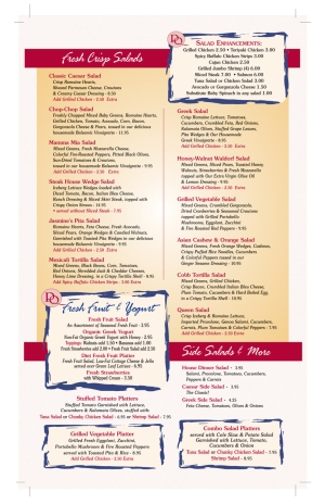 Pompton Queen Menu - Salads
