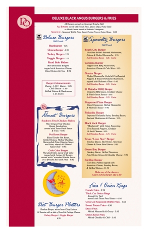 Pompton Queen Menu - Deluxe Black Angus Burgers & Fries