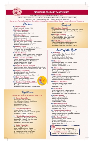 Pompton Queen Menu - Signature Gourmet Sandwiches
