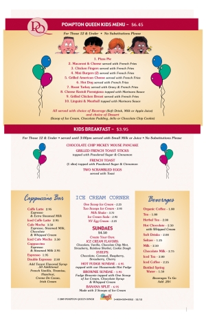 Pompton Queen Menu - Kids Menu