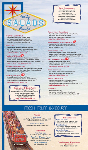 Pompton Queen Menu - Salads & Fruit/Yogurt