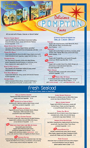 Pompton Queen Menu - Favorites & Seafood